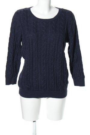 H&M Zopfpullover blau Zopfmuster Casual-Look