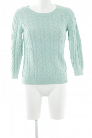 H&M Cable Sweater mint cable stitch casual look