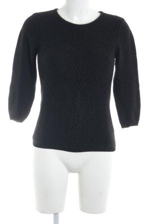 H&M Zopfpullover schwarz Zopfmuster Casual-Look