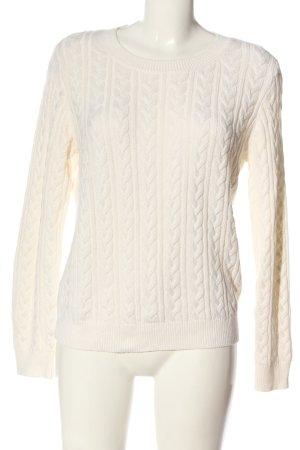 H&M Warkoczowy sweter biały W stylu casual