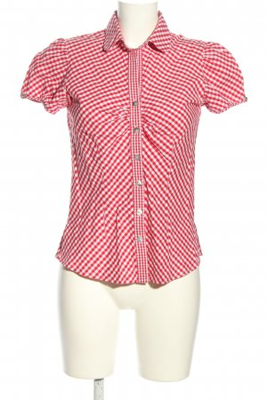 H.Moser Kurzarm-Bluse rot-weiß Karomuster Casual-Look