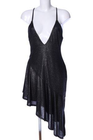 h:ours Vokuhila-Kleid schwarz meliert extravaganter Stil
