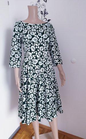 H&R London Sukienka midi biały-ciemnozielony Bawełna