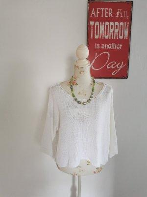 H Trend Italy Damen Lochstrick Cropped Pullover weiß Größe 42 NEU