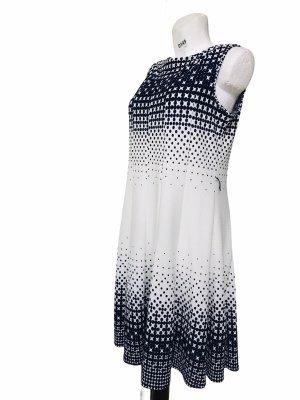 Haan Petite Damen Sommer Kleid Weiß Blau XL