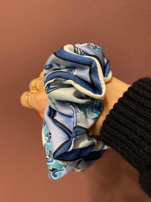 Bandeau cheveux bleu azur-blanc soie