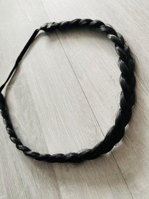Haarband - geflochten , schwarzbraun