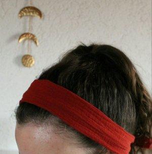 Haarband kurz zum Knoten rot dunkelrot bordeaux Musselin Boho