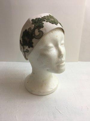 Bandeau cheveux blanc cassé-gris vert