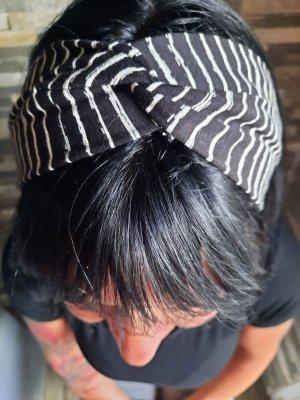 Wstążka do włosów biały-czarny