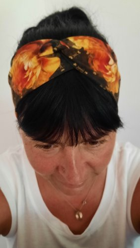 handmade unikat Cinta para el pelo negro-naranja