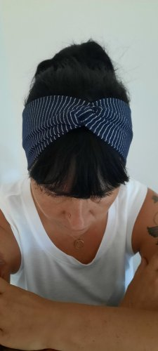 handmade unikat Wstążka do włosów srebrny-ciemnoniebieski