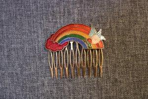 Spilla per capelli oro-rosso Metallo
