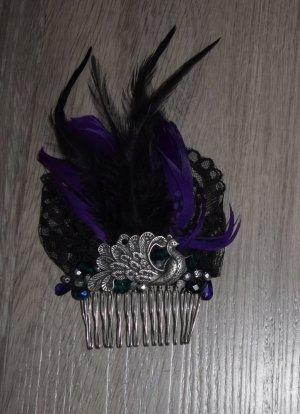 Haarkamm Schwan, mit Federn und Perlen, lila schwarz, gothic