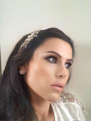 Haarkamm sehr edel Gold Silber Blume weiß Hochzeit Standesamt
