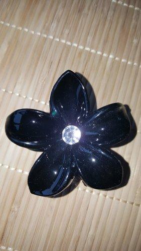 Haarklammer Haarspange Blume schwarz Glitzerstein