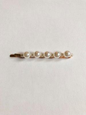 Haarklammer Perlen weiß