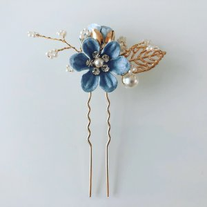 Hair Clip gold-colored-blue