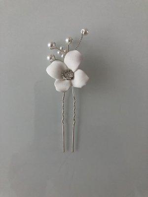Haarnadel Brautschmuck Haarspange Blume Blüte Hochzeit weiß Silber