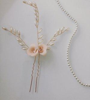 Haarnadel Haarschmuck Haarklammer apricot blush Creme Perlen Gold Blüte Blume Brautjungfer Trauzeugin