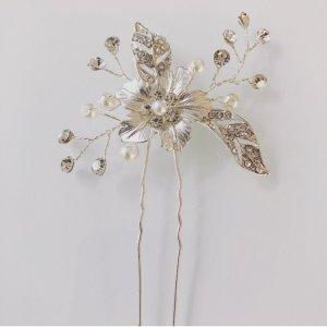 Haarnadel Haarschmuck Hochzeit Brautschmuck silber Perle strass Blüte