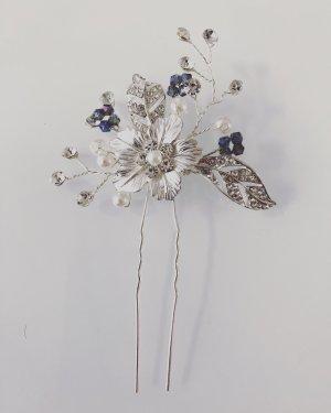 Haarnadel Silber Blume etwas blaues blau Hochzeit Brautfrisur Brautschmuck