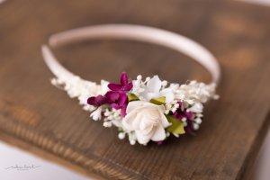 Haarreif für Hochzeit Brautjungfer Hochzeitsgast mit Kunstblumen, konservierte Blumen und Trockenblumen