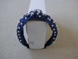 Haarreif, neu, jeansblau mit weißen Perlen