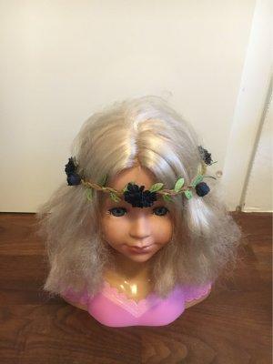 Bandeau cheveux bleu foncé-vert pâle