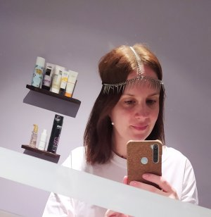 Wstążka do włosów czarny-srebrny