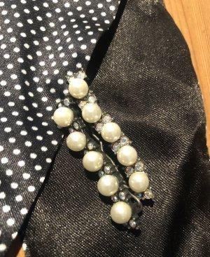 Haarspange, 2 St. mit Schmucksteinen u. Perlen