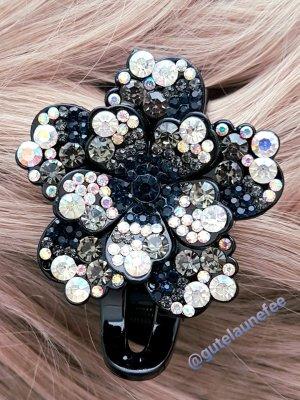 Haarspange Haarclip Haarklammer schwarz silberfarben mit Glitzer Strass Steinchen groß leicht