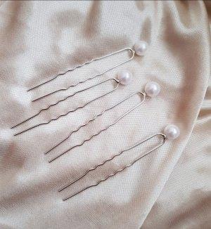 Haarspange Haarklammer mit Perlen Silber 4x