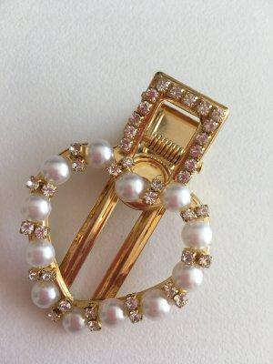 Haarspange Herz goldfarben Perlen Glitzersteinchen Clip