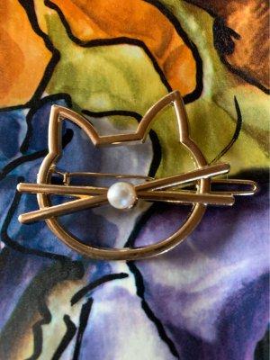 Haarspange Katze mit Perle Gold