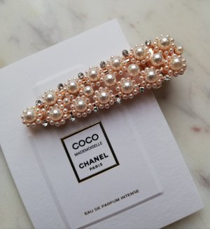 Hair Clip rose-gold-coloured-natural white metal