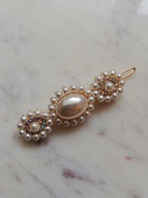 Haarspange mit Perlen und Strasssteinen besetzt