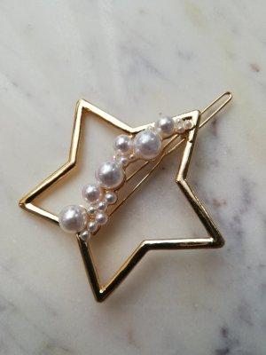 Haarspange Stern mit Perlen