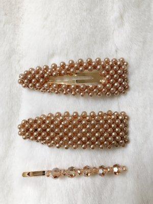 Haarspangen Haarschmuck braun Gold glitzer vintage blogger boho Style