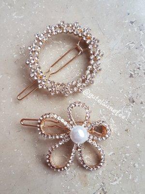 Haarspangen mit Strass Glitzer Steinchen goldfarben perle Blumen