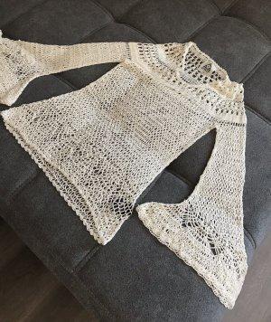 Unif Top en maille crochet crème-beige clair