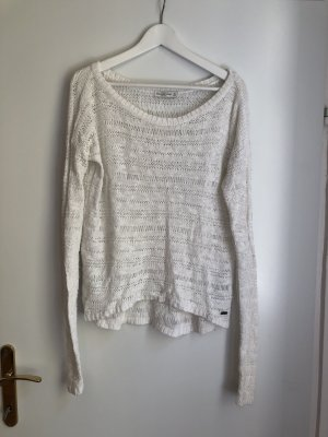 Abercrombie & Fitch Crochet Sweater white cotton