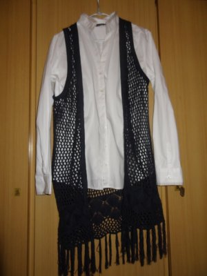 Only Fringed Vest dark blue