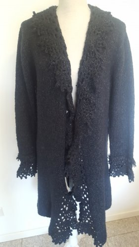 Mariposa Cardigan en crochet noir-argenté