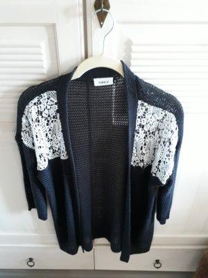 Only Crochet Cardigan white-dark blue