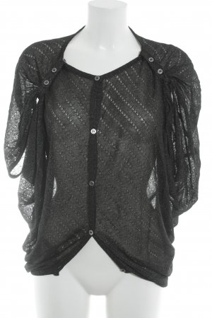Gehaakte cardigan zwart-zilver casual uitstraling
