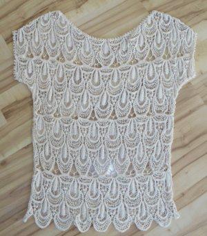 Top en maille crochet beige clair