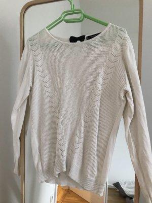 Mango Crochet Sweater natural white