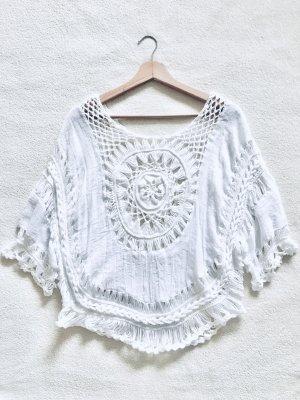 Top en maille crochet blanc-blanc cassé