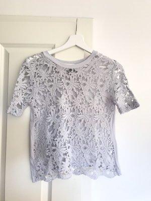 Zara Gehaakt shirt lichtgrijs